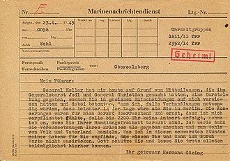 Göring Telegram - The copy found by Captain Bradin