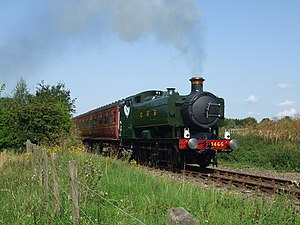 GWR 9400 Class - 9466 leaving Kimberley Park railway station on the Mid-Norfolk Railway