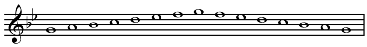 G natural minor scale ascending and descending