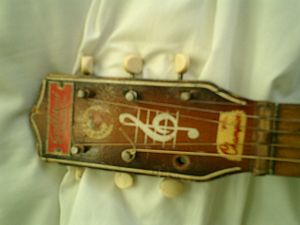 Gallotone Champion Guitar - Headstock showing labels