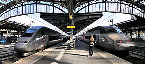 Transport in France - Two high-speed TGV trains at Paris-Gare de l'Est