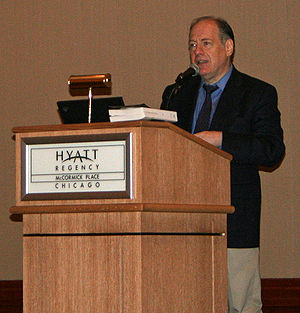 Gary Giddins - Giddins speaking at an American Library Association conference in Chicago, 2009.