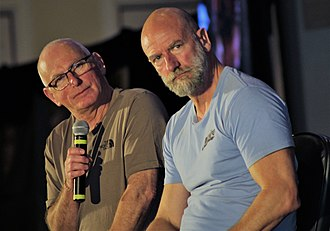 Gary Lewis (actor) - Gary Lewis (L) and Graham McTavish (R) during their panel at Creation Entertainment's Outlander convention in Las Vegas on 15 July 2018.