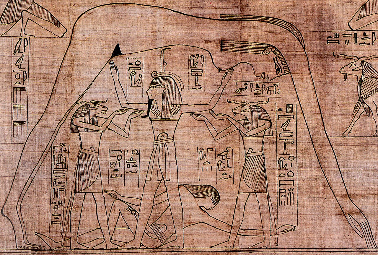 Nut, goddess of sky supported by Shu the god of air, and the ram-headed Heh deities, while the earth god Geb reclines beneath.