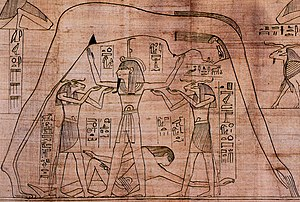 Egyptian mythology - The air god Shu, assisted by other gods, holds up Nut, the sky, as Geb, the earth, lies beneath.