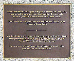 Honor killing - Memorial plaque for Hatun Sürücü in Berlin, Germany. The Kurdish woman from Turkey was murdered at age of 23 by her brothers in an honor killing.