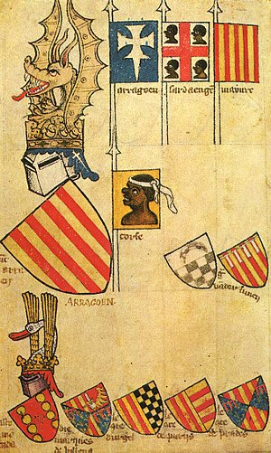 Flag of Sardinia - First testimony of the flag of Sardinia. Manuscript of Gelre, second half of the fourteenth century, Folio 62r