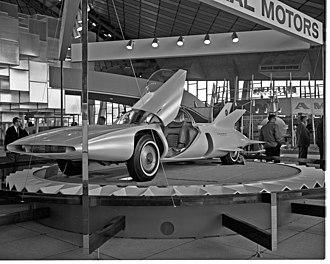 History of autonomous cars - General Motors' Firebird III on display at the Century 21 Exposition, Seattle, 1962.
