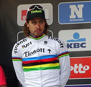 2016 Tour of Flanders - Peter Sagan, wearing the rainbow-striped jersey of the reigning world champion (pictured at the 2016 Omloop Het Nieuwsblad)