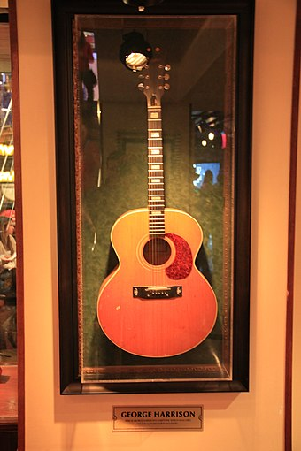 Harrison's Harptone L-6 acoustic guitar, which he played at the Concert for Bangladesh George Harrison's Harptone L-6, HRC NYC.jpg