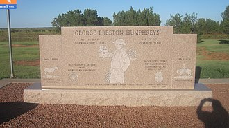 King County, Texas - Monument off U.S. Highway 83 to George Preston Humphreys (1899-1979), the manager of the 6666 Ranch, who also served as King County sheriff from 1928-1948