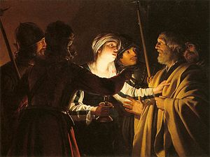 Denial of Peter - The Denial of St Peter by Gerard van Honthorst (1622-24)