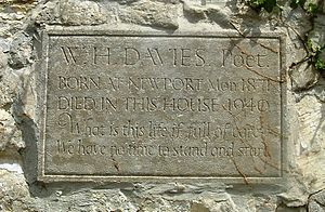 "Nailsworth - Plaque on the cottage ""Glendower"" in Watledge commemorating W. H. Davies"