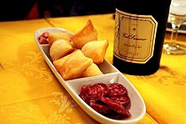 Gnocco fritto, salame, and lambrusco.jpg