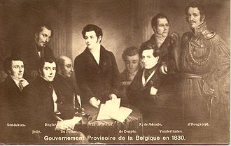 Provisional Government of Belgium - Members of the provisional government, from left to right: Gendebien, Jolly, Rogier, de Potter, Van de Weyer, de Coppin de Falaën, de Mérode, Van der Linden, van der Linden d'Hooghvorst.