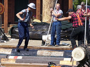 English: Lumberjacks in the log rolling event ...