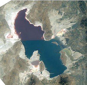 Great Salt Lake - Satellite photo from August 2003 after five years of drought, reaching near-record lows. Note the difference in colors between the northern and southern portions of the lake, the result of a railroad causeway.