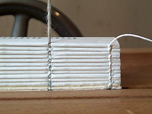 Section (bookbinding) - Twelve gatherings can be seen in this spine-side view of a book being bound