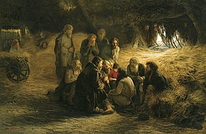 Emancipation reform of 1861 - Peasants Reading the Emancipation Manifesto, a 1873 painting by Grigory Myasoyedov