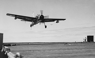 Grumman AF-2S Guardian of VS-37 landing aboard USS Badoeng Strait (CVE-116) on 1 April 1954 (NH 52419).jpg