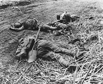 Battle of Edson's Ridge - Dead Japanese soldiers lie on the ridge near Hill 123 after the battle.