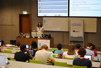 Outreachy - Marina Zhurakhinskaya presenting about the Outreach Program for Women at the GNOME Users And Developers European Conference (GUADEC) in August 2013