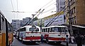 Guangzhou trolleybuses from behind, 150 and another (1991).jpg