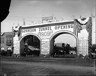 Gunnison Tunnel - Celebration on opening of the Gunnison Tunnel, 1909 (in Montrose, not at the tunnel itself)