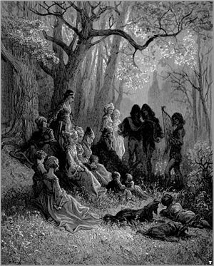 Palästinalied -  Troubadours Singing the Glories of the Crusades, a nineteenth century wood engraving by the French illustrator Gustave Doré