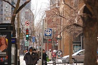 Guy-Concordia station - The entrance to Guy-Concordia station on the corner of De Maisonneuve Boulevard and Saint-Mathieu Street.