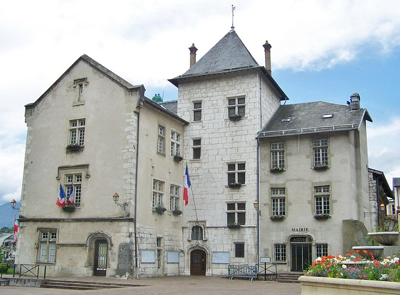 Sight of Aix-les-Bains city hall, in Savoie, France.
