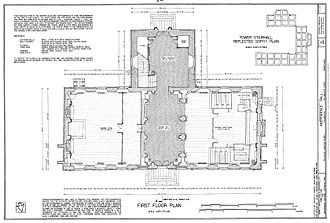 Samuel Harding (cabinetmaker) - Image: HABS measured drawing of the first floor of Independence Hall