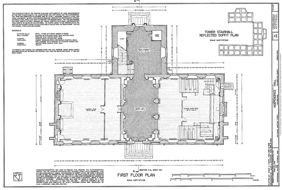 HABS measured drawing of the first floor of Independence Hall