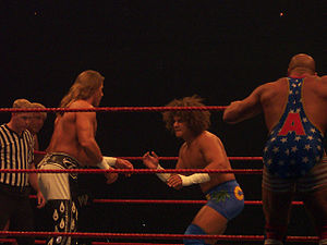 Carly Colón - Carlito and Kurt Angle facing off against Shawn Michaels and Ric Flair at a WWE house show