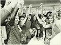 HFC Haarlem kampioen eerste divisie, champagne in de kleedkamer nadat de promotie naar de eredivisie in de wedstrijd tegen FC Amsterdam een feit werd, links trainer van Doorneveld. NL-HlmNHA 5400466694.JPG