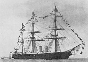 HMS Black Prince (1861) - Black Prince with masts manned by sailors