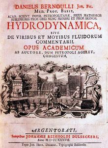 Daniel Bernoulli: Hydrodynamica sive de viribus et motibus fluidorum commentarii (1738)