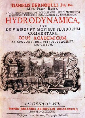 Daniel Bernoulli - Frontpage of Hydrodynamica (1738)