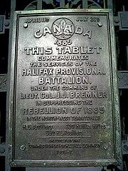 HalifaxProvisionalBattalionPlaqueHalifaxNovaScotia