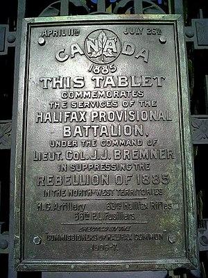 James J. Bremner - Image: Halifax Provisional Battalion Plaque Halifax Nova Scotia