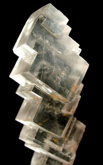 Halite - Halite cubes from the Stassfurt Potash deposit, Saxony-Anhalt, Germany (size: 6.7 × 1.9 × 1.7 cm)