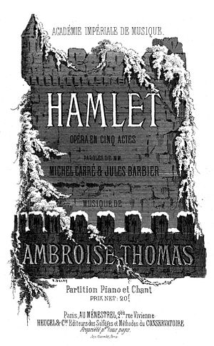 Hamlet (opera) - Cover of the piano-vocal score of Thomas' Hamlet (1868)