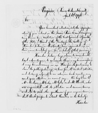 Hampden–Sydney College - Letter from the board of Hampden–Sydney to George Washington, April 6, 1796