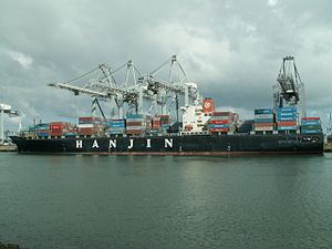 Hanjin Washington p2, at the Amazone harbour, Port of Rotterdam, Holland 29-Apr-2006.jpg