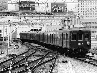 Hankyu 1300 series (1957) - 1300 series set 1307 after retrofitting of roof-mounted air-conditioning, August 1976