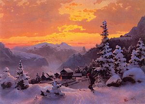 Norwegian art - Hans Gude's Winter Afternoon (1847)