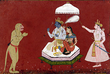 Rama seated with Sita, fanned by Lakshmana, while Hanuman pays his respects Hanuman before Rama.jpg