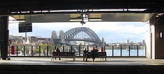 Circular Quay railway station - Image: Harbour Bridge from Circular Quay station day