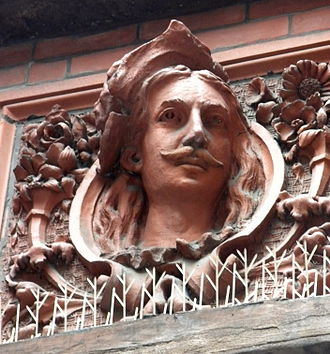 Building at 14-16 Pearson Street - Decorative panel on the building