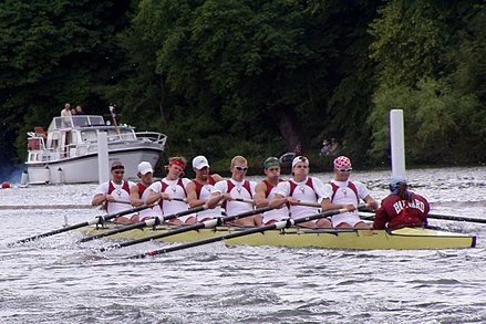Harvard men's eight crew at Henley, 2004. Originating in 1852, the Harvard-Yale Regatta is the oldest intercollegiate athletic rivalry in the United States. Also well known is the Harvard-Yale football rivalry. Harvard Rowing Crew at Henley 2004 -2.JPG